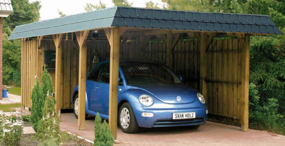 carport ger teraum skanholz abstellraum a8 fahrrad garage vom garagen fachh ndler. Black Bedroom Furniture Sets. Home Design Ideas
