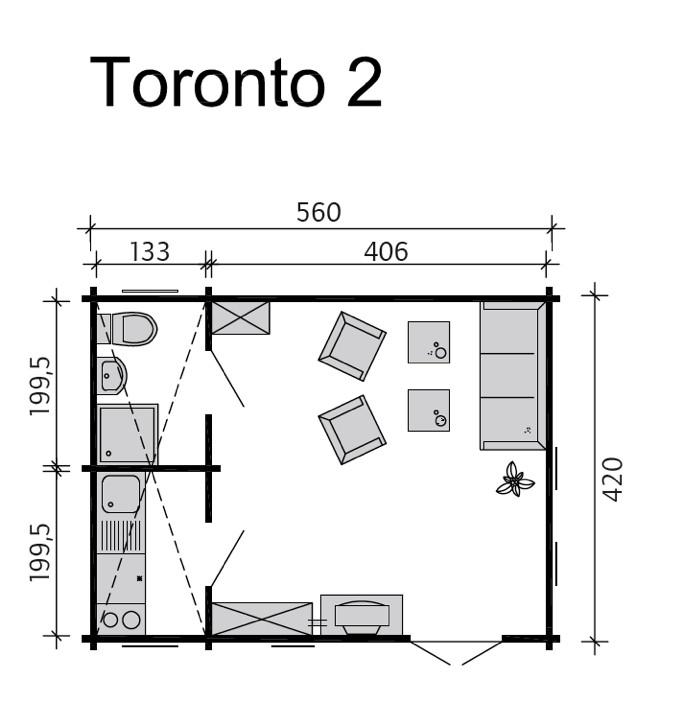 Größe Garage: Gartenhaus SKANHOLZ «Toronto» 45mm-Wochenendhaus-Holzhaus