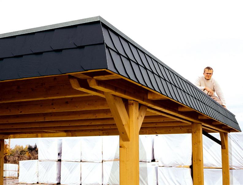 Holz carport skanholz spreewald walmdach doppelcarport for Carport detail