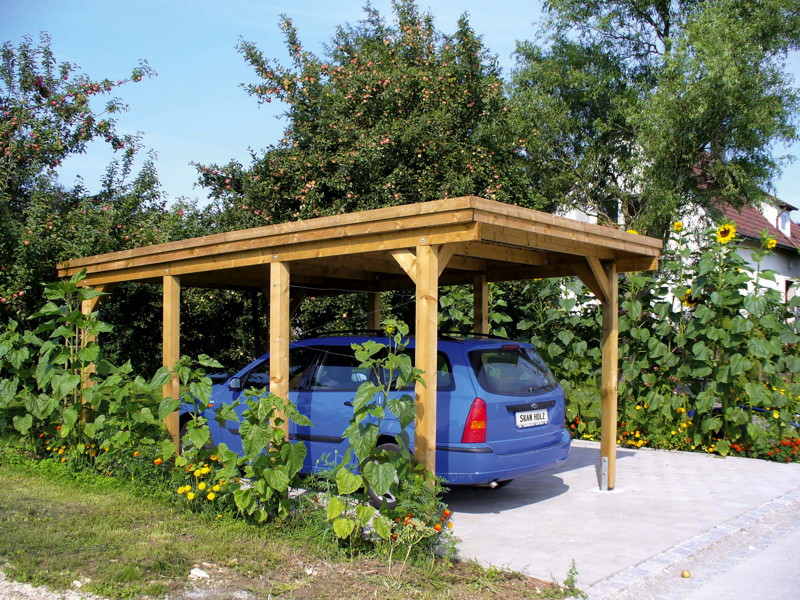 holz carport skanholz holstein flachdach einzelcarport. Black Bedroom Furniture Sets. Home Design Ideas