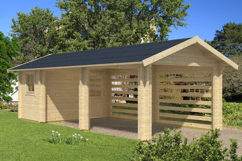 Garage Holz holz carport bausatz skanholz stockholm mit anbauschuppen