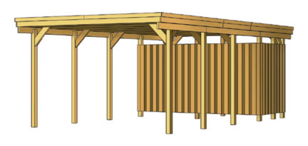 holz carport skanholz lausitz flachdach einzelcarport. Black Bedroom Furniture Sets. Home Design Ideas
