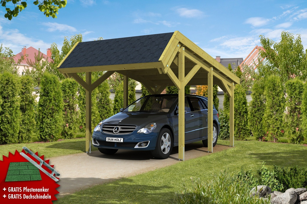 holz carport skanholz harz pultdach einzelcarport vom garagen fachh ndler. Black Bedroom Furniture Sets. Home Design Ideas