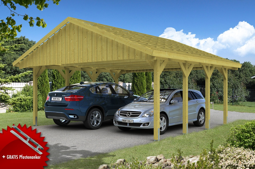 holz carport skanholz sauerland satteldach doppelcarport. Black Bedroom Furniture Sets. Home Design Ideas