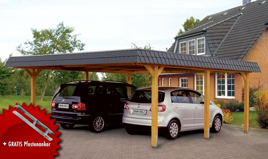 holz carport skanholz wendland walmdach doppelcarport. Black Bedroom Furniture Sets. Home Design Ideas
