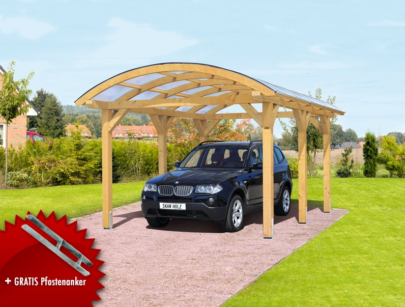 holz carport bausatz skanholz franken durchsichtiges runddach einzelcarport vom garagen. Black Bedroom Furniture Sets. Home Design Ideas