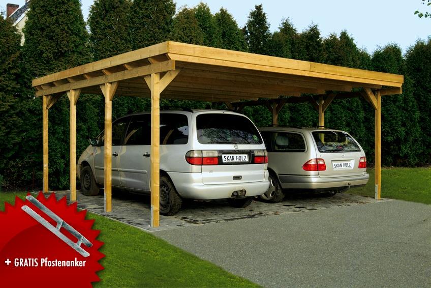 Top Holz-Carport SKANHOLZ «Holstein» Flachdach Doppelcarport | vom MJ67