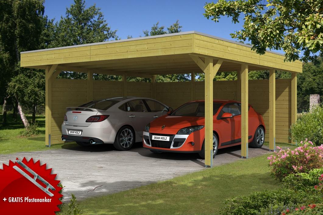 Holz carport bausatz skanholz «friesland aluminiumdach» doppelcarpot