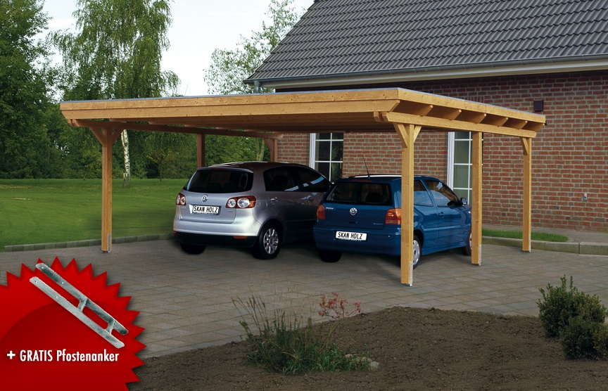 holz carport bausatz skanholz emsland flachdach doppelcarport leimholz vom garagen fachh ndler. Black Bedroom Furniture Sets. Home Design Ideas