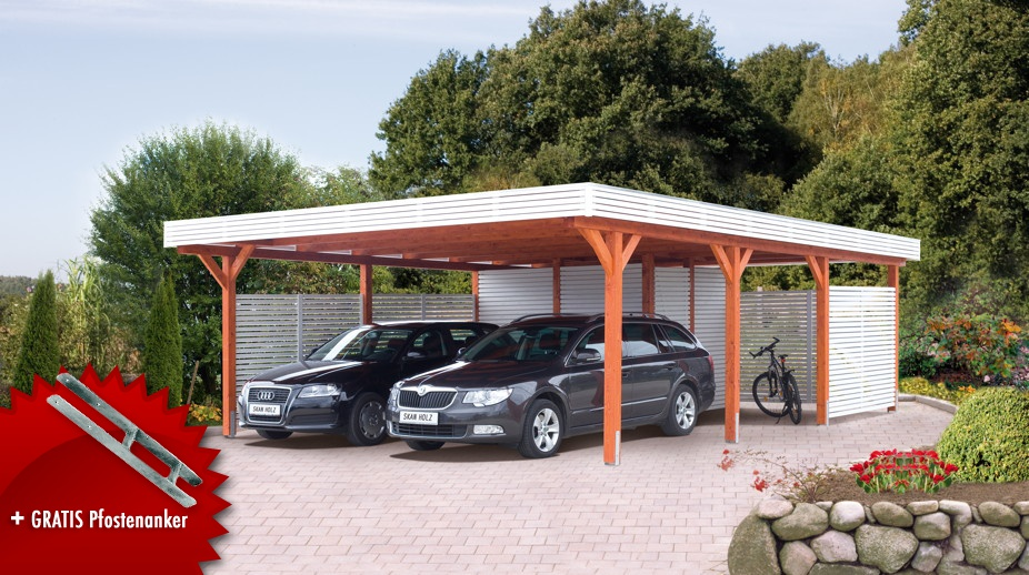 Holz carport skanholz «spessart» flachdach doppelcarport kaufen im