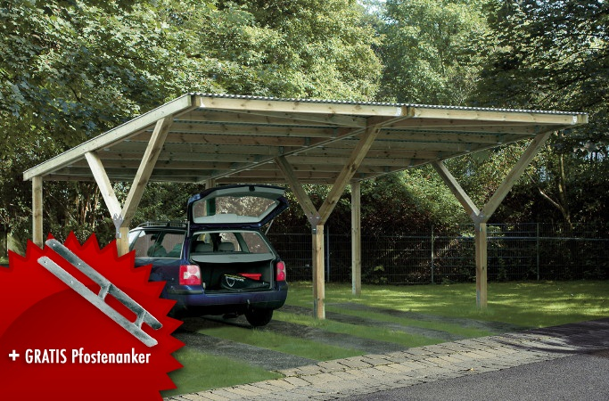 holz carport bausatz weka y doppelcarport kaufen im. Black Bedroom Furniture Sets. Home Design Ideas