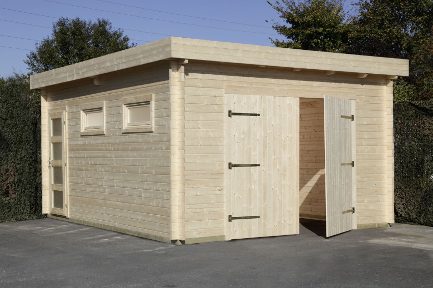 Garage wolff 44 moderna holzgarage 44mm blockbohle for Garage versailles 44