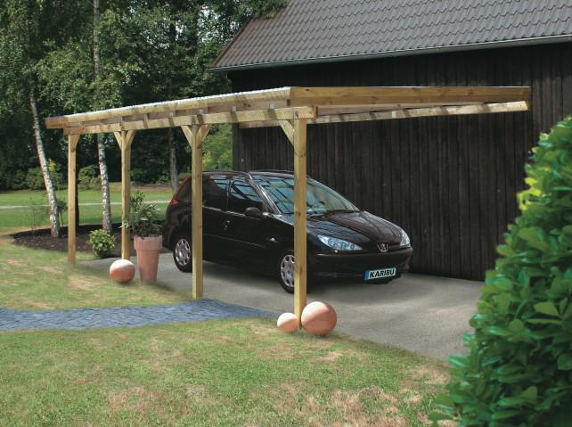 holz carport bausatz karibu anlehn carport flachdach. Black Bedroom Furniture Sets. Home Design Ideas