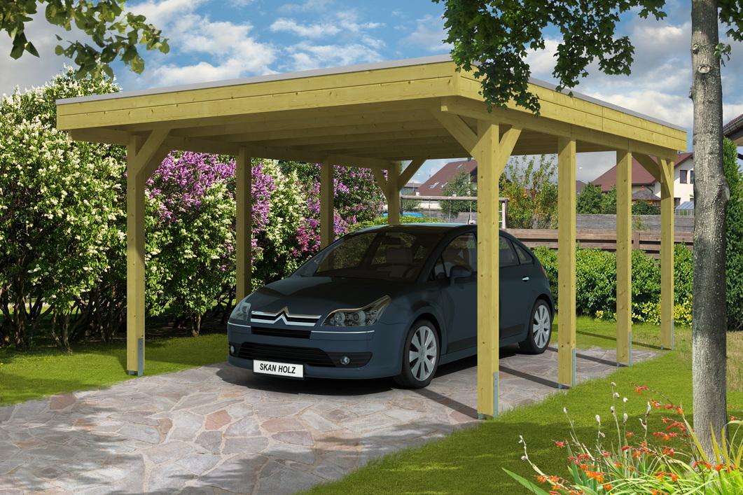 holz carport bausatz skanholz friesland aluminiumdach flachdach einzelcarport vom garagen. Black Bedroom Furniture Sets. Home Design Ideas