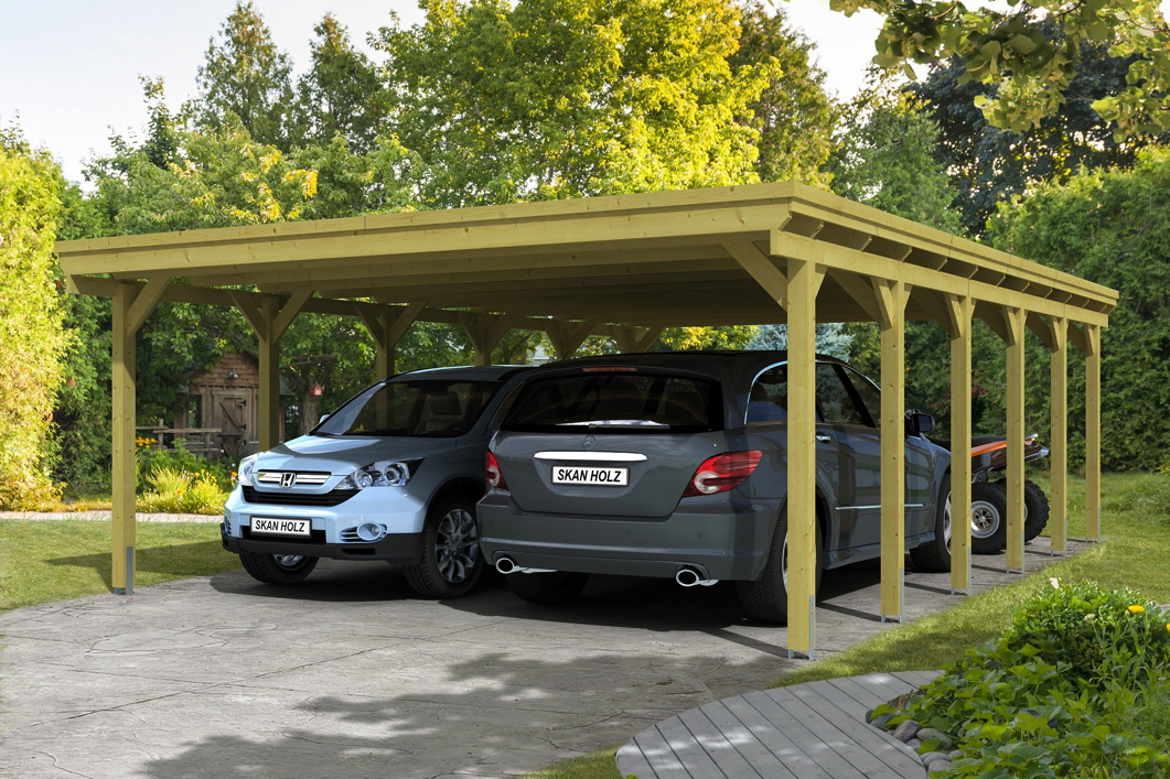 holz carport skanholz holstein flachdach doppelcarport vom garagen fachh ndler. Black Bedroom Furniture Sets. Home Design Ideas