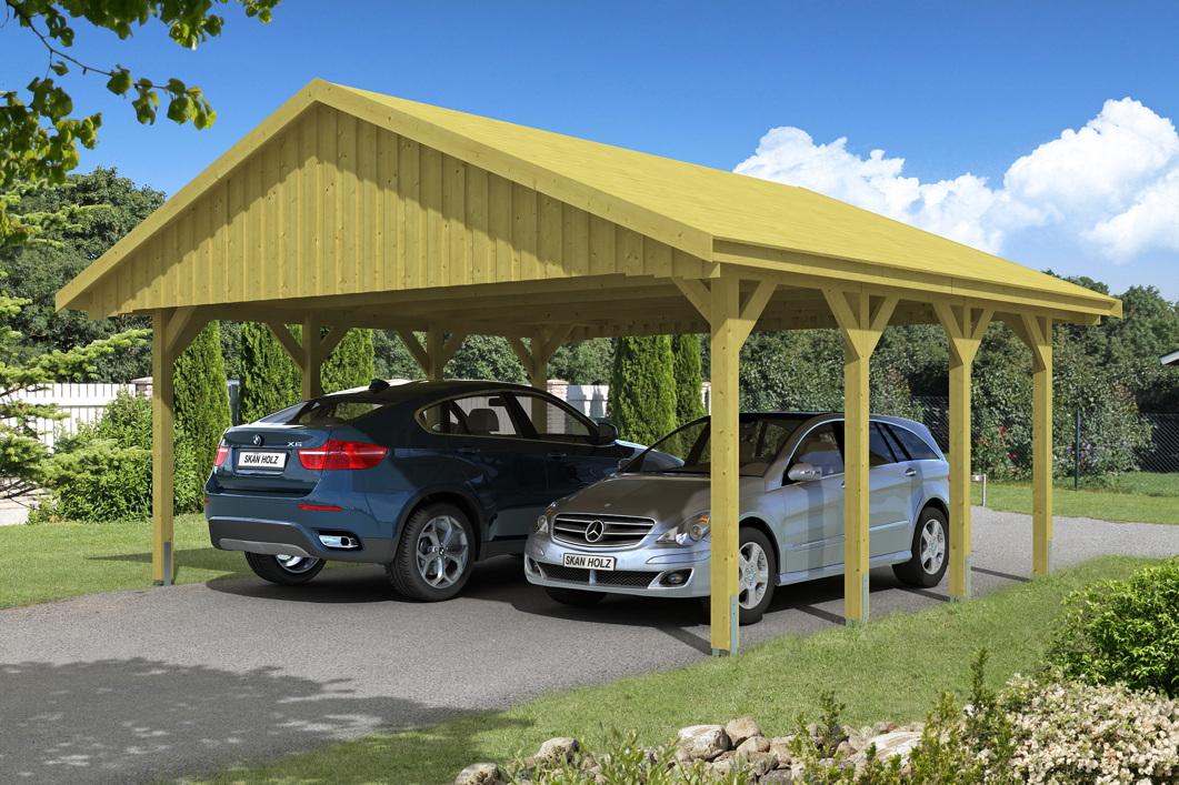 holz carport skanholz sauerland doppelcarport mit dachschalung satteldach vom garagen. Black Bedroom Furniture Sets. Home Design Ideas