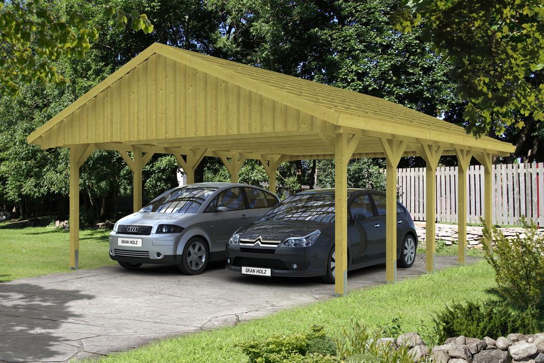 holz carport skanholz sauerland doppelcarport mit dachlattung satteldach vom garagen fachh ndler. Black Bedroom Furniture Sets. Home Design Ideas