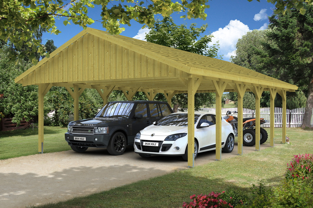 holz carport skanholz sauerland doppelcarport mit dachlattung satteldach vom garagen fachh ndler. Black Bedroom Furniture Sets. Home Design Ideas