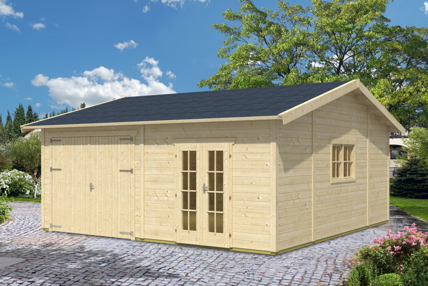 garage skanholz mora 3 einzelgarage 45 mm holzgarage mit gartenhaus kaufen im holz. Black Bedroom Furniture Sets. Home Design Ideas