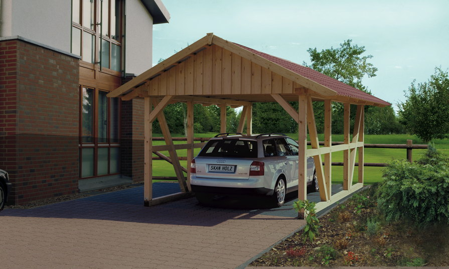 holz carport skanholz schwarzwald einzelcarport mit dach fachwerk carport vom garagen. Black Bedroom Furniture Sets. Home Design Ideas