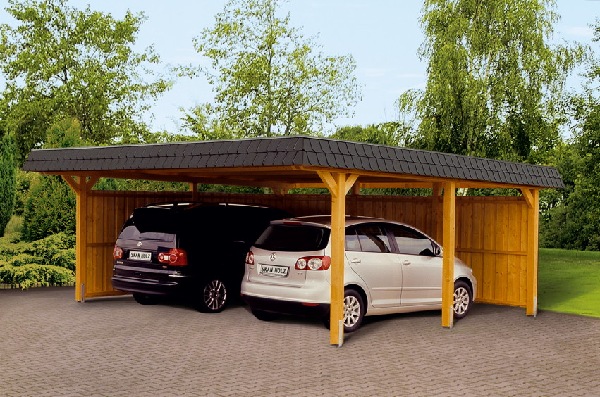 holz carport skanholz wendland walmdach doppelcarport kaufen im holz garten baumarkt. Black Bedroom Furniture Sets. Home Design Ideas