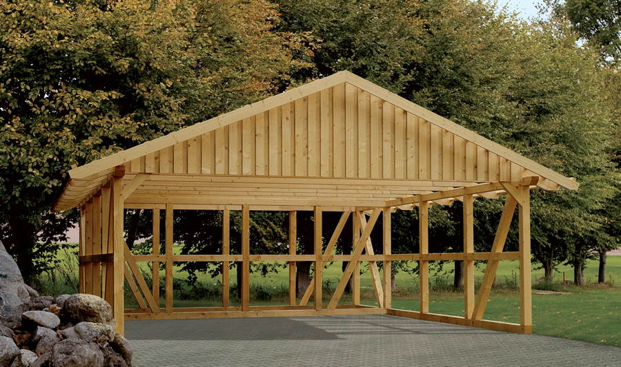 holz carport skanholz schwarzwald fachwerk doppelcarport vom garagen fachh ndler. Black Bedroom Furniture Sets. Home Design Ideas