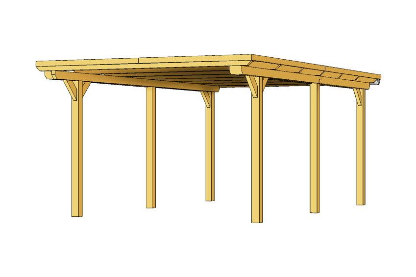 holz carport bausatz 12x12cm pfosten flachdach 1 auto. Black Bedroom Furniture Sets. Home Design Ideas