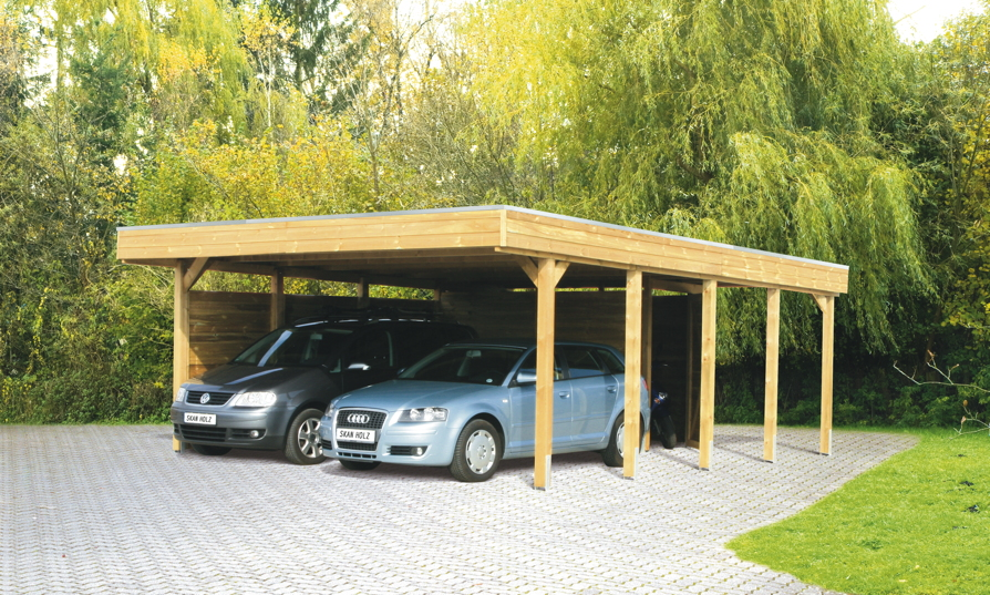 holz carport bausatz skanholz friesland aluminiunmdach flachdach doppelcarport kaufen im. Black Bedroom Furniture Sets. Home Design Ideas