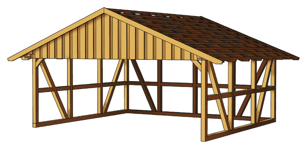 holz carport skanholz schwarzwald fachwerk doppelcarport kaufen im holz garten. Black Bedroom Furniture Sets. Home Design Ideas