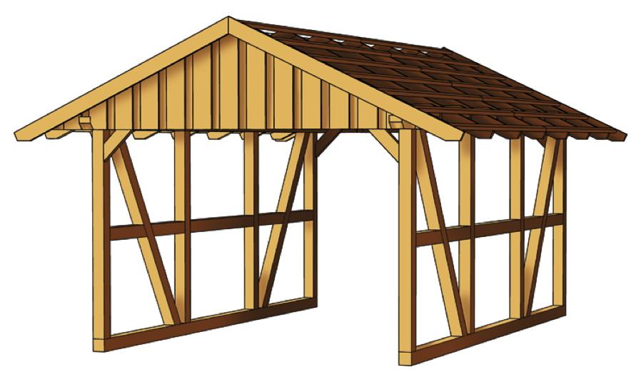 holz carport skanholz schwarzwald einzelcarport mit dach fachwerk carport kaufen im holz. Black Bedroom Furniture Sets. Home Design Ideas