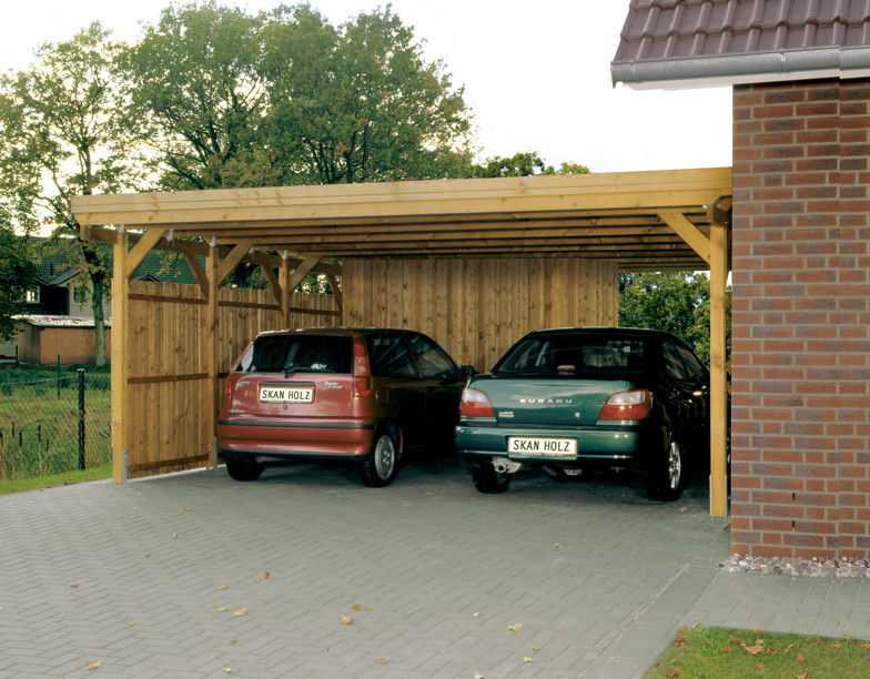 holz carport skanholz holstein flachdach doppelcarport. Black Bedroom Furniture Sets. Home Design Ideas