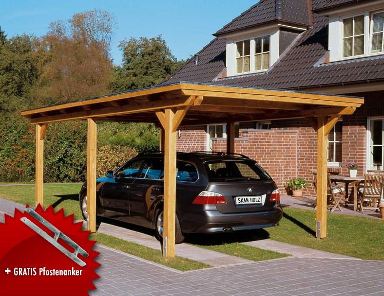 Holz carport bausatz cm pfosten flachdach auto leimhol