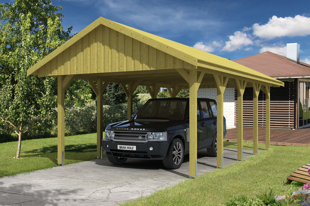 holz carport skanholz sauerland einzelcarport mit dachschalung satteldach vom garagen. Black Bedroom Furniture Sets. Home Design Ideas